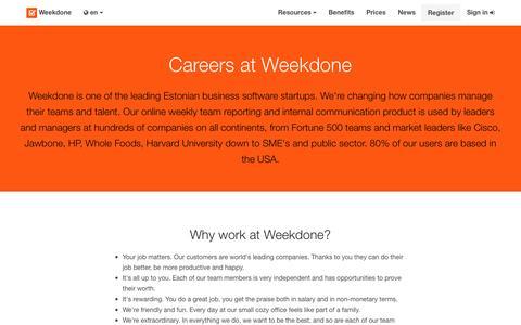 Screenshot of Jobs Page weekdone.com - Careers at Weekdone - Weekdone - captured Nov. 17, 2015