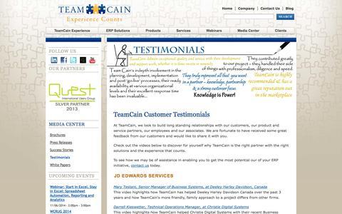 Screenshot of Testimonials Page teamcain.com - TeamCain Customer Testimonials | TeamCain - captured Oct. 26, 2014