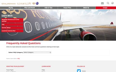 Screenshot of FAQ Page rj.com - Frequently asked questions – Royal Jordanian - Royal Jordanian - captured Sept. 22, 2018