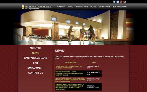 Screenshot of Press Page valleyviewcasino.com - Premier Gaming in San Diego, San Diego Certified Loose Slots - Valley View Casino News - captured Sept. 19, 2014