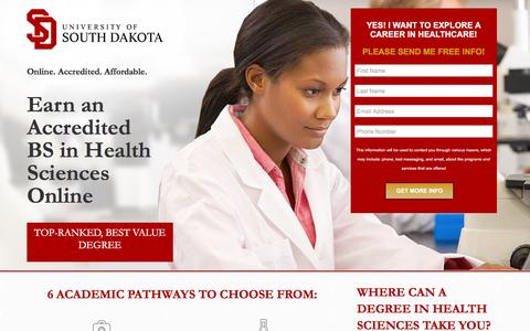 Screenshot of Landing Page usd.edu - Bachelor of Science in Health Sciences - USD Online - captured April 21, 2016