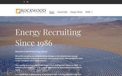 Screenshot of Home Page rockwoodenergysearch.com - Energy Efficiency Jobs | Renewable Energy Recruiters | Solar Jobs - captured Oct. 19, 2018