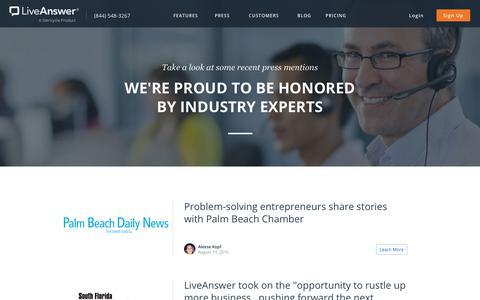 Screenshot of Press Page liveanswer.com - LiveAnswer - Press - captured Nov. 14, 2017