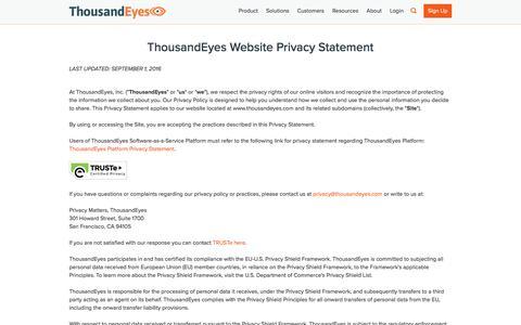 Screenshot of Privacy Page thousandeyes.com - Privacy Policy   ThousandEyes - captured Nov. 28, 2016