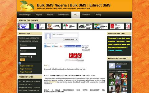 Screenshot of FAQ Page edirectsms.com - Frequently Asked Questions - captured Oct. 31, 2014