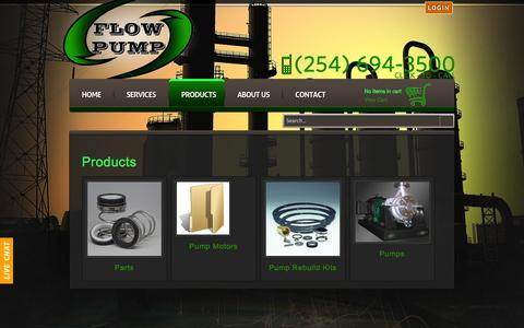 Screenshot of Products Page flowpump.com - Products - captured Oct. 9, 2014