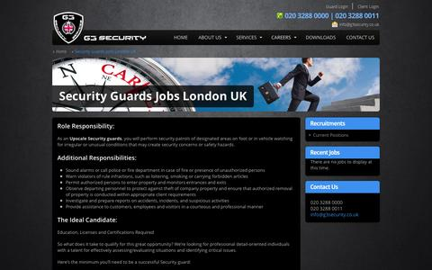 Screenshot of Jobs Page g3security.co.uk - Security Guards Jobs London, UK | Security company London- G3 Security - captured Oct. 1, 2014