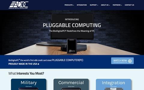 Screenshot of Home Page addc.net - Arnouse Digital Devices - Pluggable Computing Platform - BioDigitalPC® - captured April 1, 2016