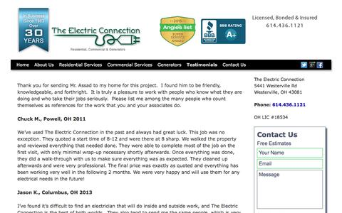 Screenshot of Testimonials Page theelectricconnect.com - The Electric Connection Columbus, Ohio Testimonials - captured Dec. 14, 2016