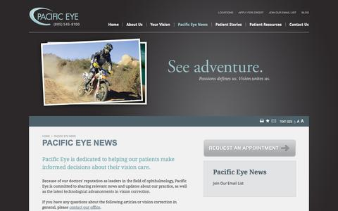 Screenshot of Press Page paceyemd.com - Pacific Eye - Your Vision Specialist in San Luis Obispo County - captured Oct. 1, 2014