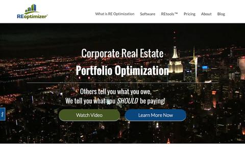 Screenshot of Home Page reoptimizer.com - Corporate Real Estate Portfolio Optimization - captured Oct. 2, 2015