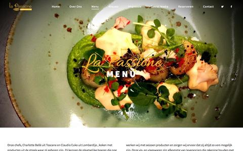 Screenshot of Menu Page restaurantlapassione.nl - Menu La Passione - captured Sept. 28, 2015