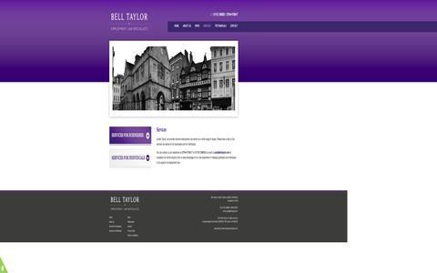 Screenshot of Services Page belltaylor.com - Employment law Specialist Services | Bell Taylor - captured Oct. 5, 2014