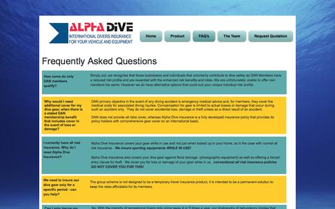 Screenshot of FAQ Page alphadiveinsurance.com - Alpha Dive Insurance | FAQ's - captured May 29, 2017