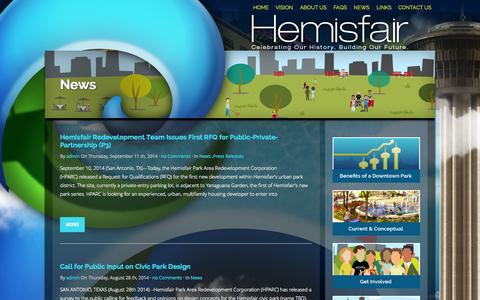 Screenshot of Press Page hemisfair.org - News | Hemisfair - captured Oct. 27, 2014
