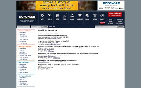 Screenshot of Contact Page rotowire.com - RotoWire - Contact Us - captured Sept. 18, 2014