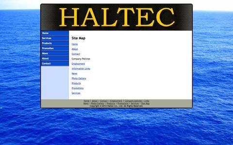 Screenshot of Site Map Page haltecworld.com - Haltec - Site Map - captured Oct. 1, 2014
