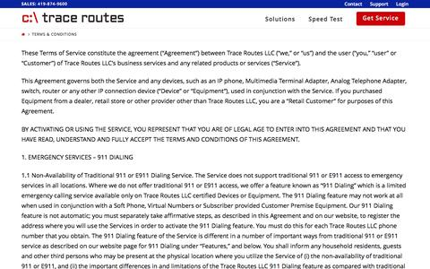 Screenshot of Terms Page tracerts.com - Terms & Conditions - Trace Routes - captured Dec. 2, 2016