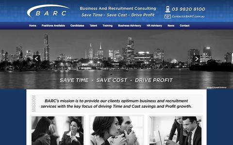 Screenshot of Home Page barc.com.au - Home | Business and Recruitment Consulting | Melbourne | 03 9820 8100 - captured Oct. 1, 2014