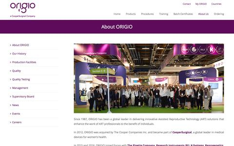 Screenshot of About Page origio.com - About ORIGIO – ORIGIO - captured June 13, 2017