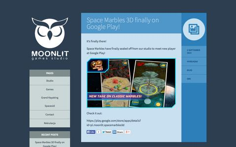 Screenshot of Home Page moonlit.pl - Moonlit Games Studio - Indie Games Developer - captured Oct. 6, 2014