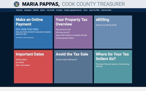 Screenshot of Home Page cookcountytreasurer.com - Cook County Treasurer's Office - Chicago, Illinois - captured Sept. 22, 2018