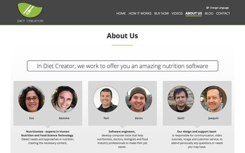 Screenshot of About Page diet-creator.com - Who is the team Diet Creator - captured Sept. 30, 2014