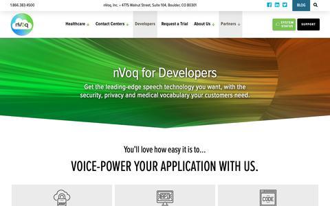 Screenshot of Developers Page nvoq.com - nVoq for Application Developers - captured Oct. 19, 2018