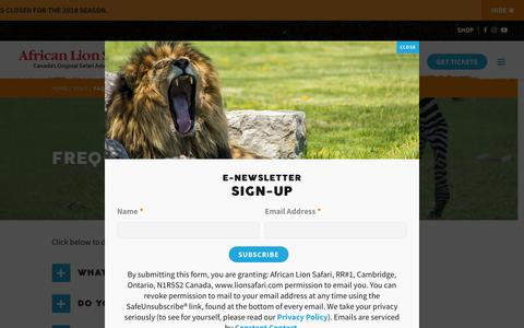 Screenshot of FAQ Page lionsafari.com - Frequently Asked Questions | African Lion Safari - Cambridge Ontario - captured Sept. 22, 2018