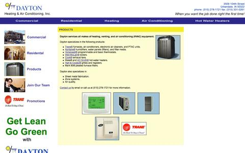 Screenshot of Products Page daytonhvac.com - Products - Dayton Heating & Air Conditioning, Inc. - captured March 11, 2016