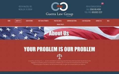 Screenshot of About Page guerralawgroup.com - About Guerra Law Group P.L.L.C. | McAllen TX - captured Nov. 16, 2016
