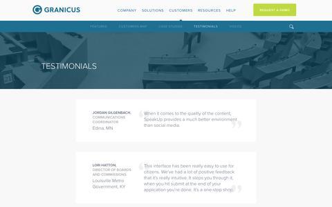 Screenshot of Testimonials Page granicus.com - Testimonials | Granicus - captured Sept. 16, 2014