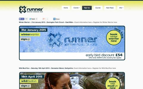 Screenshot of Signup Page xrunner.co.uk - X-Runner the ultimate mud runs and obstacle races - 2015 calendar. - captured Oct. 29, 2014