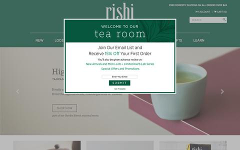 Rishi Organic Tea, Green Tea, Oolong Tea, Chai Tea, Loose Leaf Tea