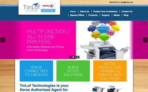 Screenshot of Home Page tinlof.com - TinLof - Printers, Copiers, Fax, Document Solutions - captured Oct. 9, 2014