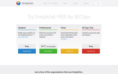 Screenshot of Pricing Page simpleset.net - Pricing Plans - captured Oct. 20, 2018