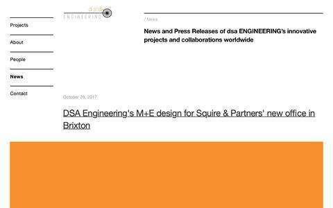 Screenshot of Press Page dsaengineers.com - News — DSA engineering - captured Oct. 7, 2018