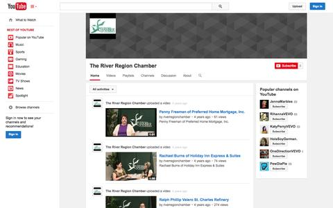 Screenshot of YouTube Page youtube.com - The River Region Chamber  - YouTube - captured Nov. 3, 2014