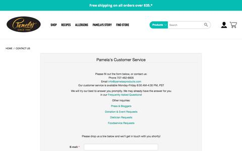 Screenshot of Contact Page pamelasproducts.com - Contact Us - captured Sept. 10, 2019