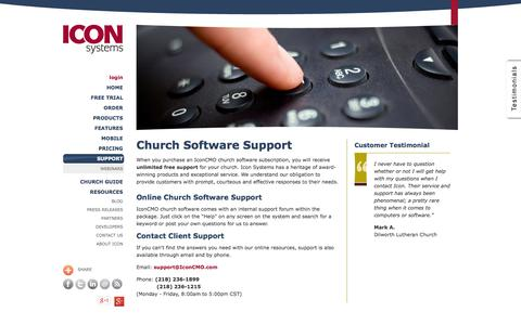 Screenshot of Support Page iconcmo.com - Church Software | Technical Support by email & phone - captured Oct. 10, 2014