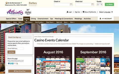 Screenshot of atlantiscasino.com - Casino Events Calendar | Atlantis Casino Reno - captured Aug. 24, 2016