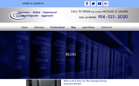 Screenshot of Blog leader-law.com - Blog   Leader & Leader, P.A. - captured Oct. 29, 2018