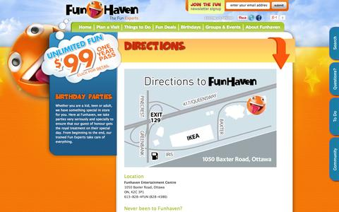 Screenshot of Maps & Directions Page funhaven.com - Funhaven Directions & Map | Visit Funhaven | Funhaven Family Fun Centre | Ottawa Birthday Parties | Ottawa Laser Tag | Ottawa, Ontario Canada - captured Oct. 6, 2014