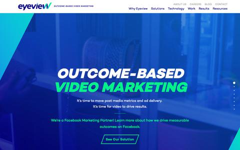 Screenshot of Home Page eyeviewdigital.com - Outcome-Based Video Marketing | Eyeview - captured July 29, 2017