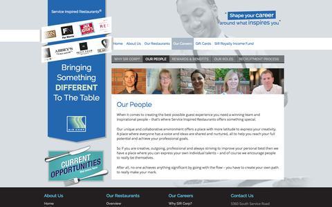Screenshot of Team Page sircorp.com - Service Inspired Restaurants :: SIR Corp - captured Sept. 30, 2014