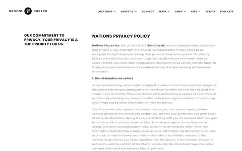 Screenshot of Privacy Page nationschurch.com - Nations Church - Privacy Policy - captured Sept. 21, 2018