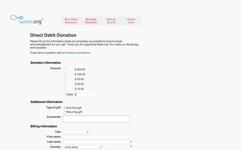 Screenshot of Landing Page water.org - Direct Debit Donation - Water.org - captured Aug. 19, 2016