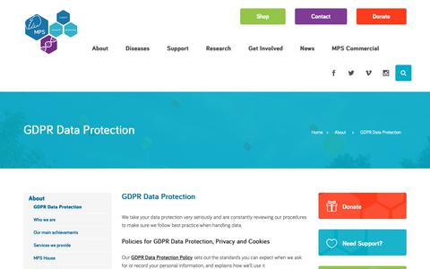 Screenshot of Privacy Page mpssociety.org.uk - GDPR Data Protection - MPS - captured Nov. 5, 2018