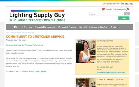 Screenshot of Support Page lightingsupplyguy.com - Customer Service - Lighting Supply Guy - captured Sept. 28, 2018