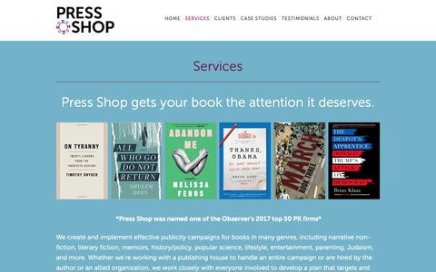 Screenshot of Services Page pressshoppr.com - Services — Press Shop - captured Nov. 5, 2018